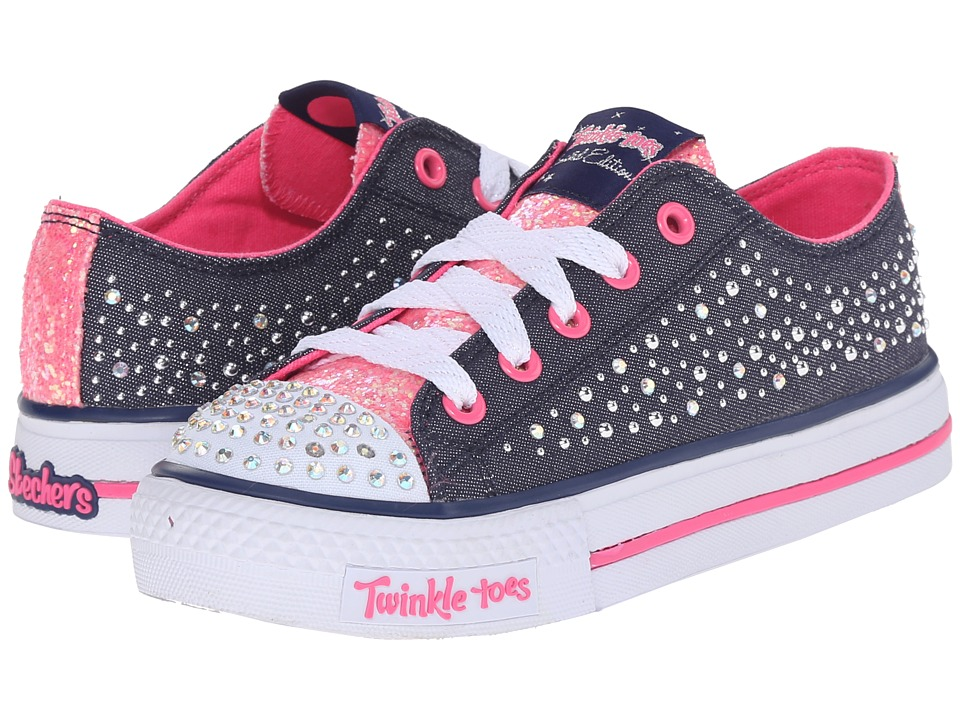 SKECHERS KIDS - Shuffles - Sparkle Wishes 10579L Lights (Little Kid/Big Kid) (Denim/Hot Pink) Girl's Shoes