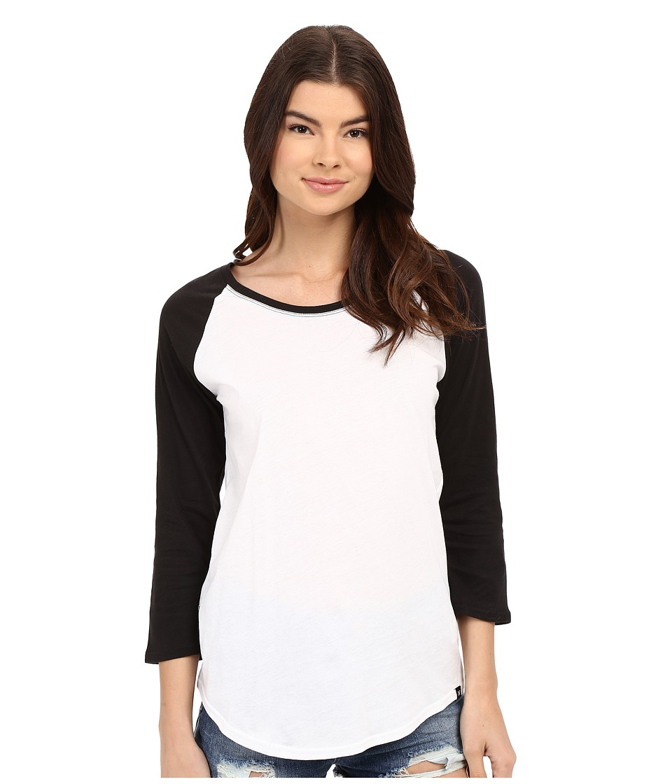 Hurley - Staple Perfect Raglan (White/Black) Women's T Shirt