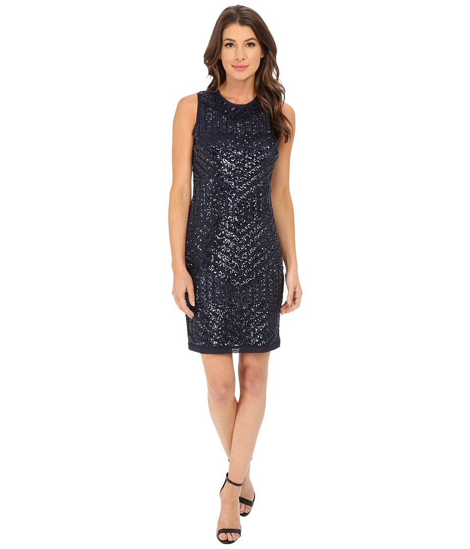 Vince Camuto - Deco Pattern Cracked Ice Sleeveless Sheath Dress (Navy) Women's Dress