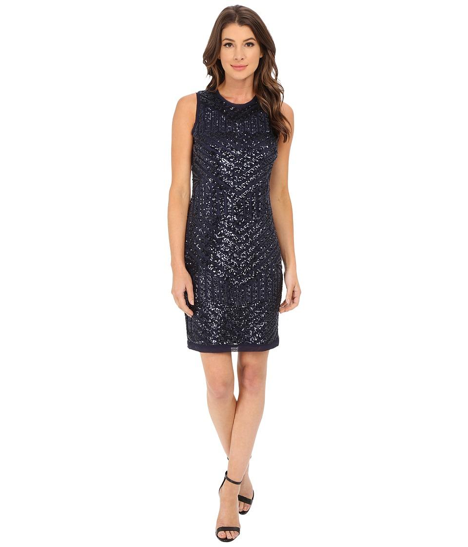 Vince Camuto - Deco Pattern Cracked Ice Sleevless Sheath Dress (Navy) Women's Dress