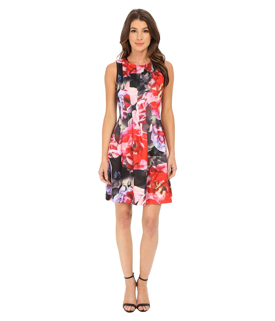 Vince Camuto - Sleevless Release Pleat Scuba Fit and Flare Dress (Print) Women's Dress