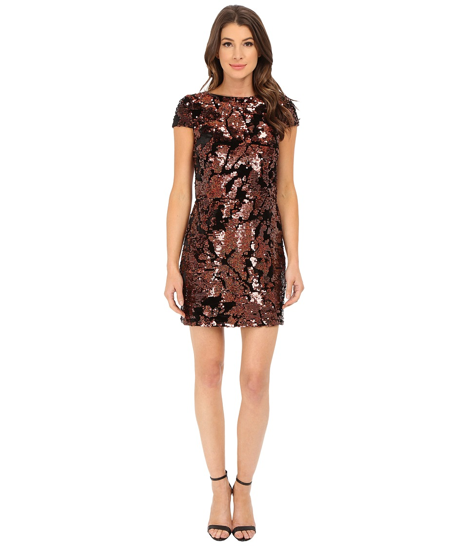 Vince Camuto - Cap Sleeve Velvet Sheath Dress with Flexible Copper Sequins (Bronze) Women's Dress
