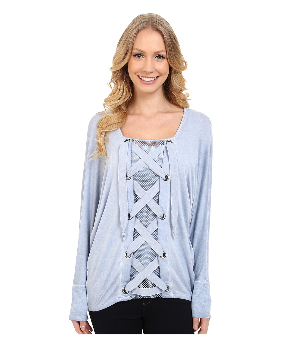 Miraclebody Jeans Lydia Lace-Up Front Top w/ Body-Shaping Inner Shell (Glacier Blue) Women