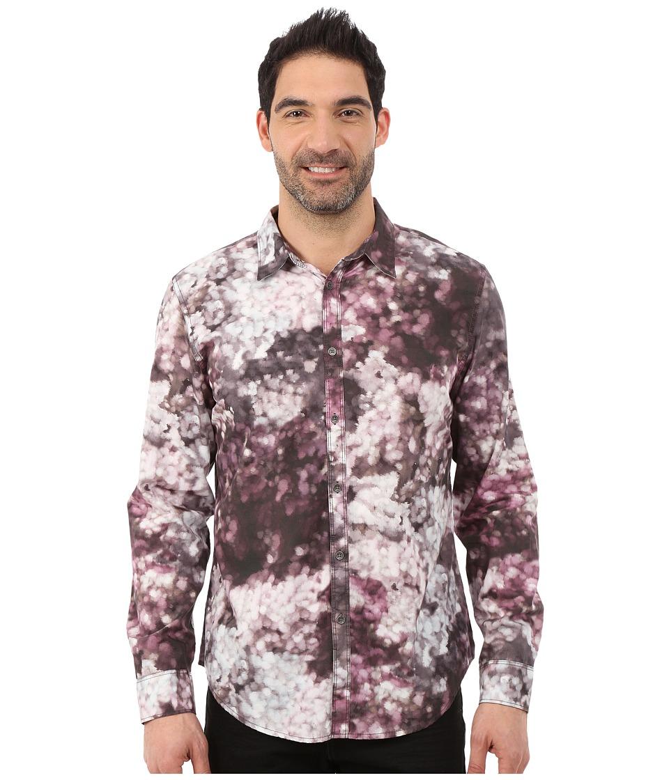 Calvin Klein Jeans - Floral Print Long Sleeve Shirt (Greystone) Men's Long Sleeve Button Up
