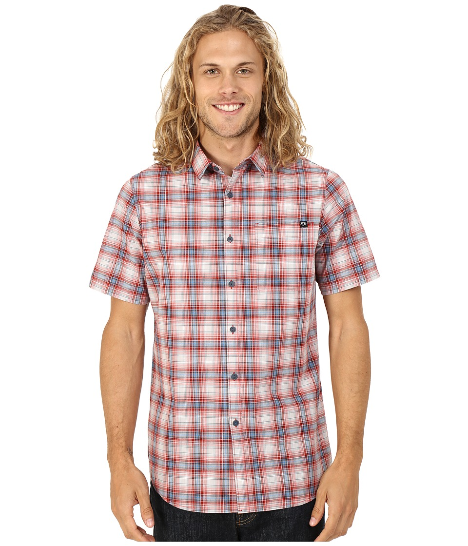 Fox - Krill Short Sleeve Woven (Red) Men's Short Sleeve Button Up