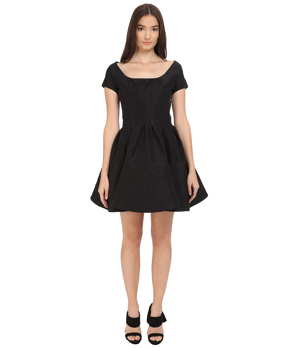 Zac Posen Short Sleeve Boat Neck Fit and Flare Dress (Black) Women