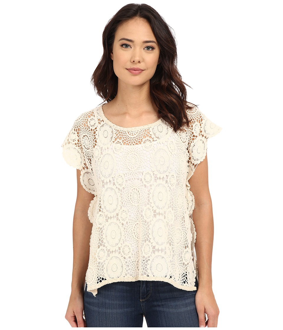 BCBGeneration - Embrace the Lace High-Low Poncho (Natural) Women's Short Sleeve Pullover