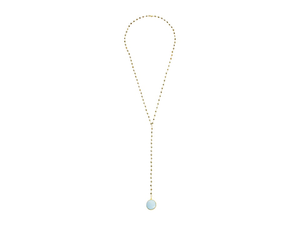 Dee Berkley - Drusy Y Necklace (Gray/Gold) Necklace