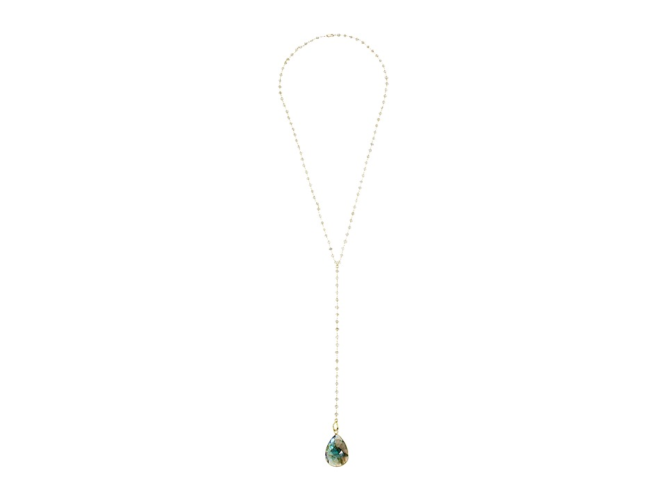 Dee Berkley - Labradorite Y Necklace (Gray/Gold) Necklace