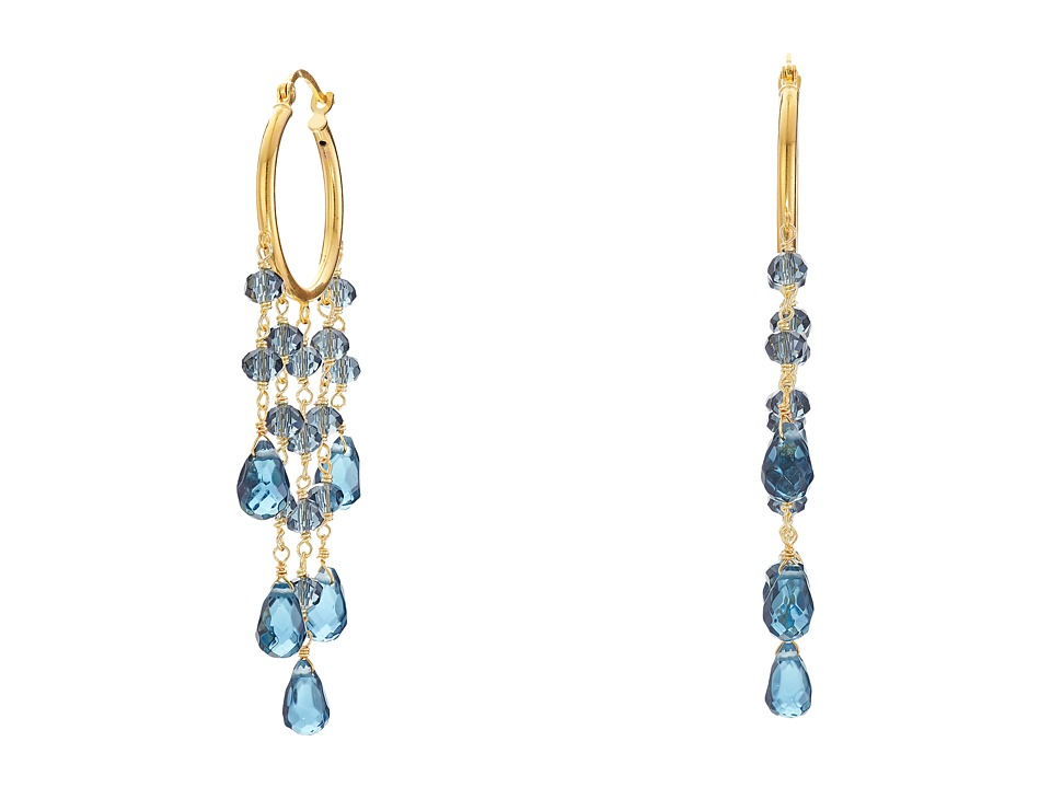 Dee Berkley - Blue Agate Hoop Earrings (Blue) Earring