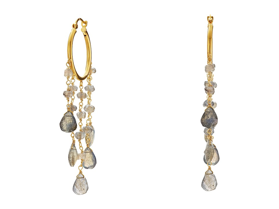Dee Berkley - Labradorite Hoop Earrings (Gray) Earring