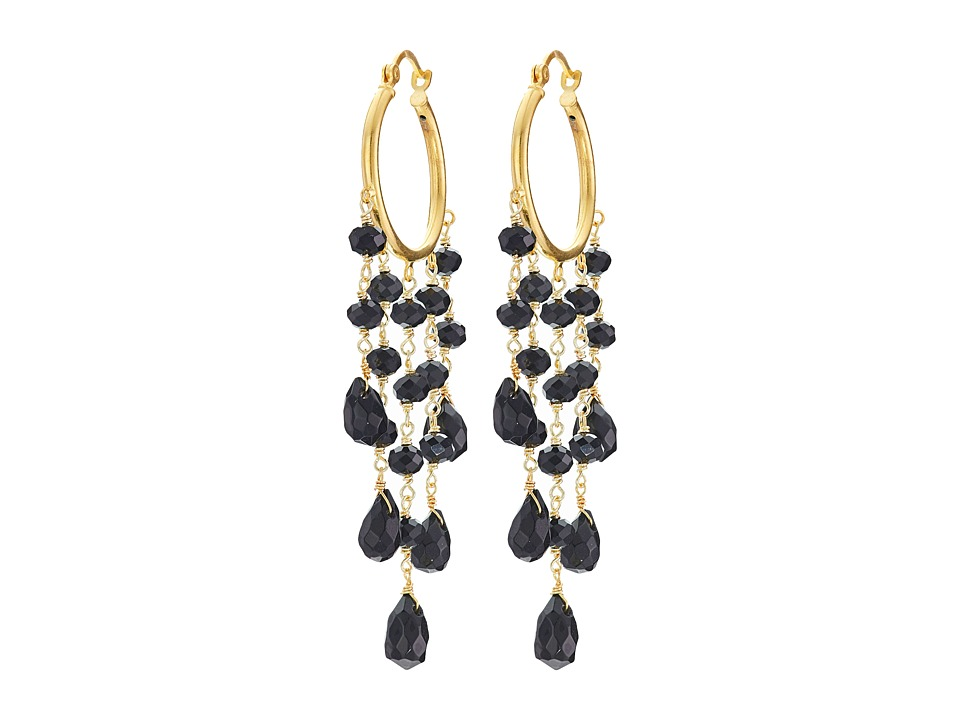 Dee Berkley - Black Agate Hoop Earrings (Black) Earring