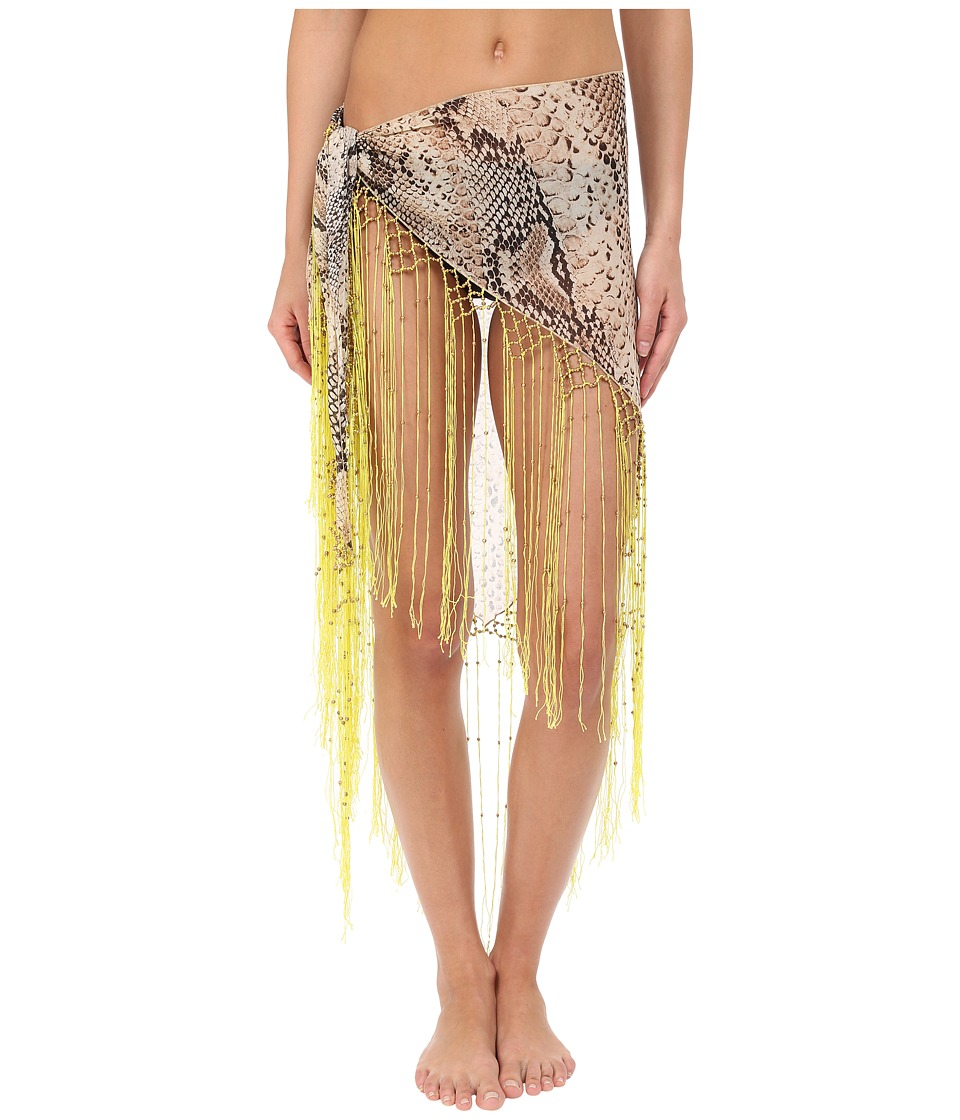 Roberto Cavalli - Python Pareo Cover-Up (Acid Lemon) Women's Swimwear