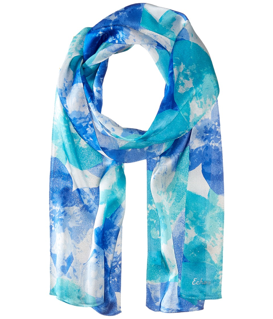Echo Design - Watercolor Flower Oblong (Blue Wave) Scarves