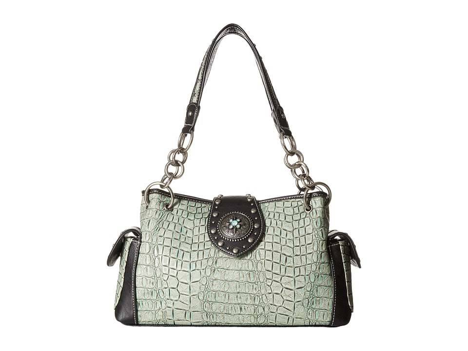 M&F Western - Croco Concho Satchel (Turquoise/Black) Satchel Handbags