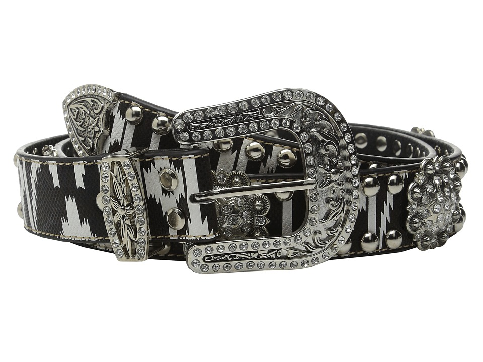 M&F Western - Aztec Concho Studded Belt (Black/White) Women's Belts