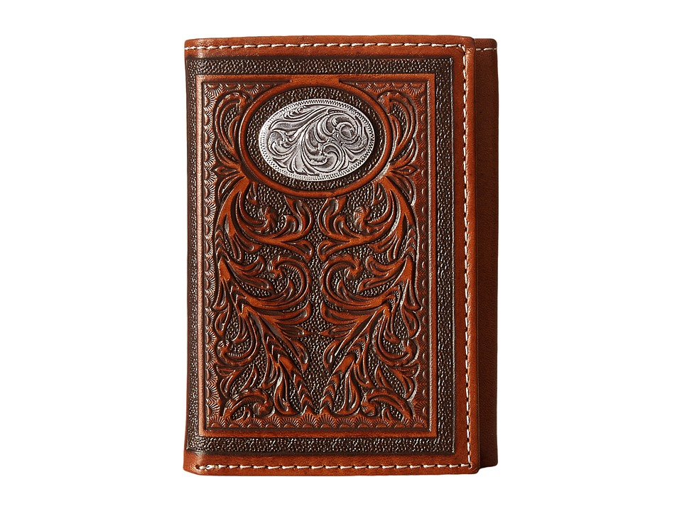 M&F Western - Large Oval Concho Embossed Tri-Fold Wallet (Tan) Wallet Handbags