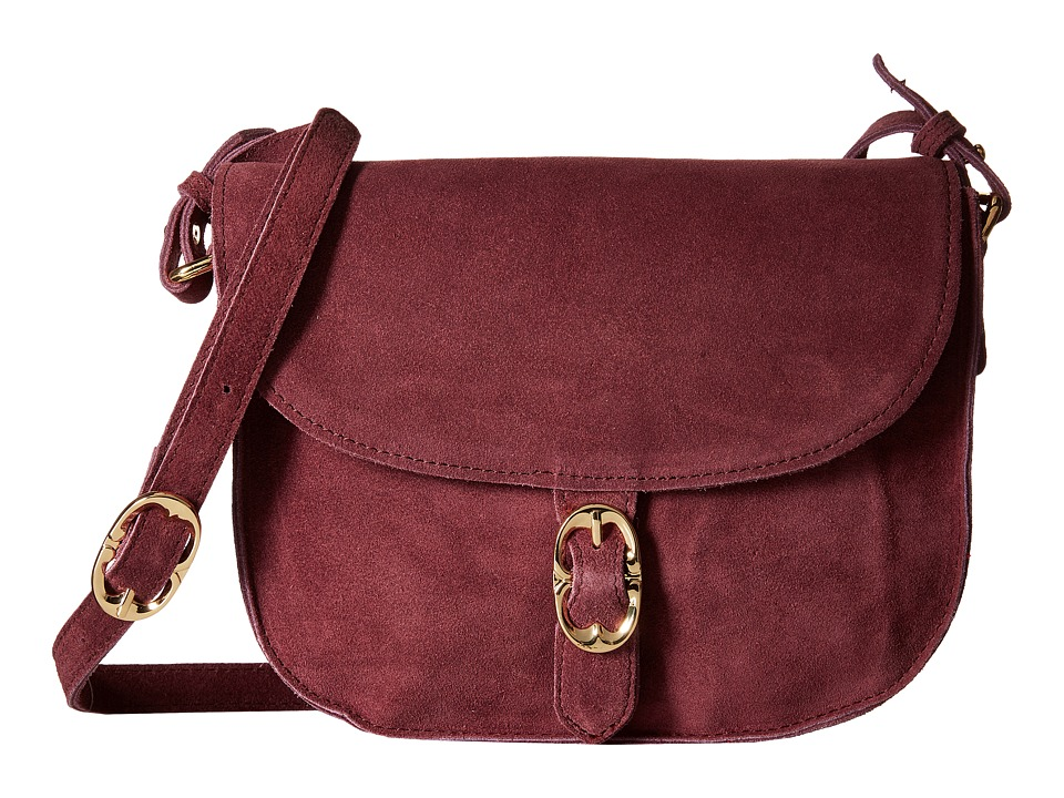 Emma Fox - Dales Suede Flap Crossbody (Eggplant) Cross Body Handbags