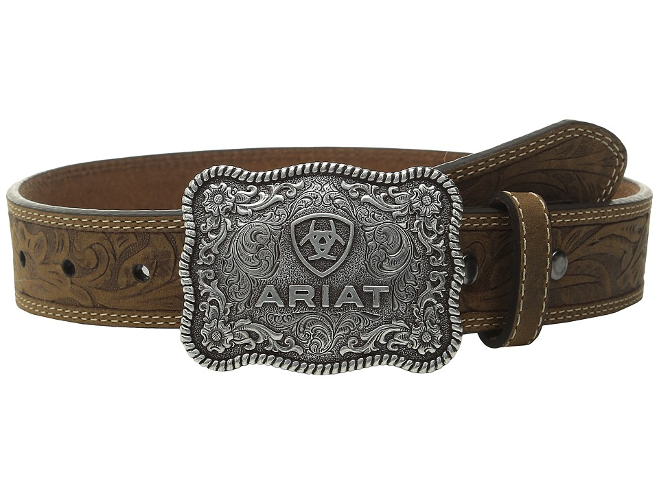 Ariat - Rectangle Rope Edge Shield Buckle Embossed Tab Belt (Little Kids/Big Kids) (Brown) Men's Belts