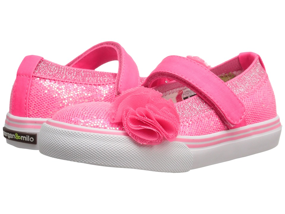 Morgan&Milo Kids - Shimmer Maryjane (Toddler/Little Kid) (Pale Neon Pink) Girls Shoes