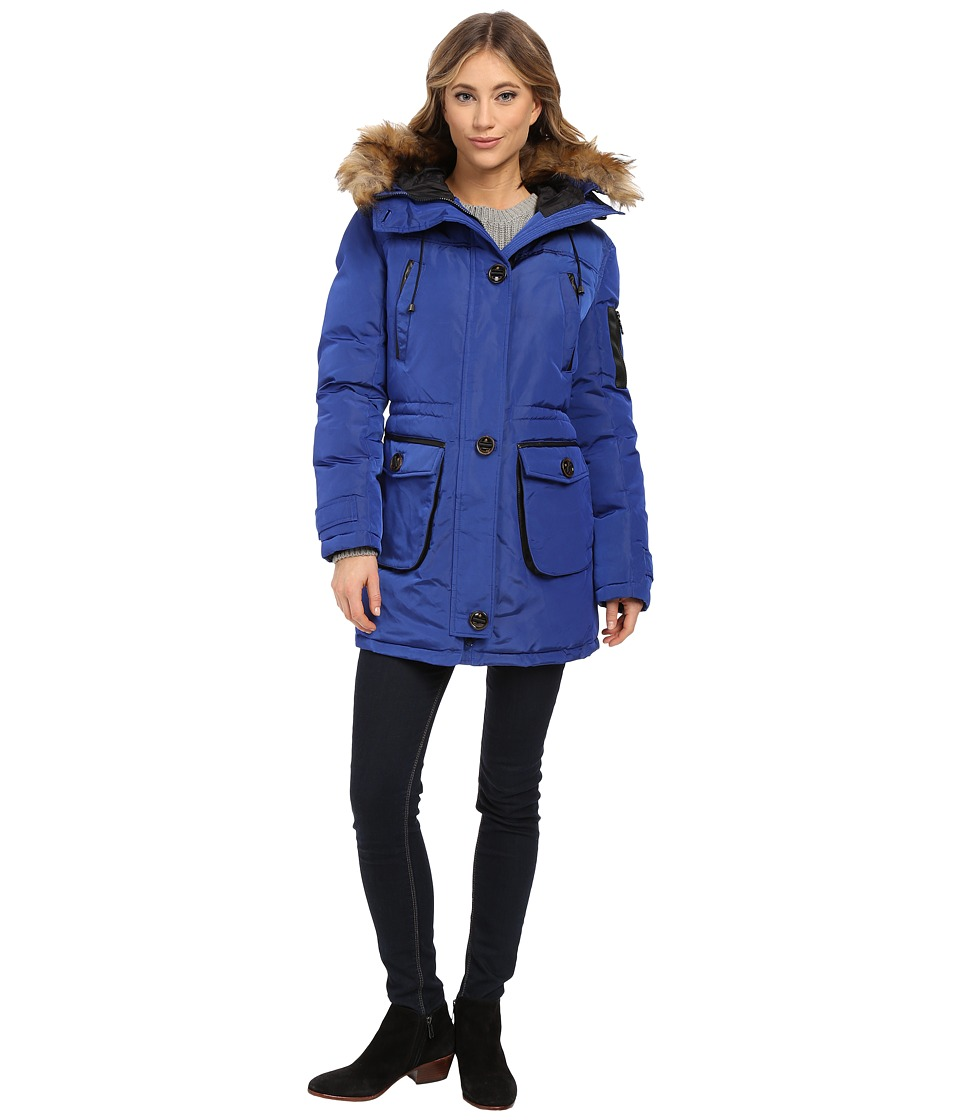 Rainforest - Mixed Media Jacket (Cobalt) Women's Coat