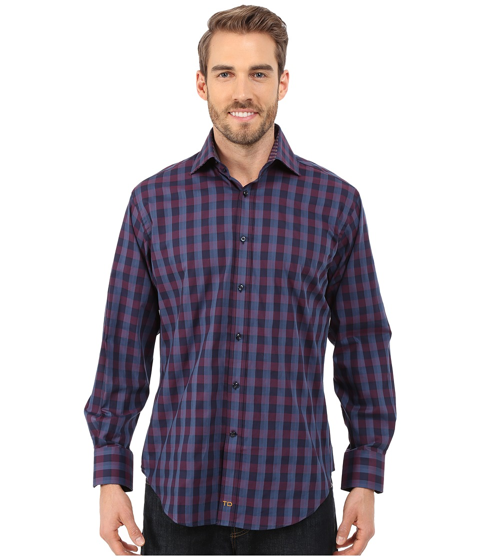 Thomas Dean & Co. - Long Sleeve Woven Textured Large Check (Wine) Men's Long Sleeve Button Up