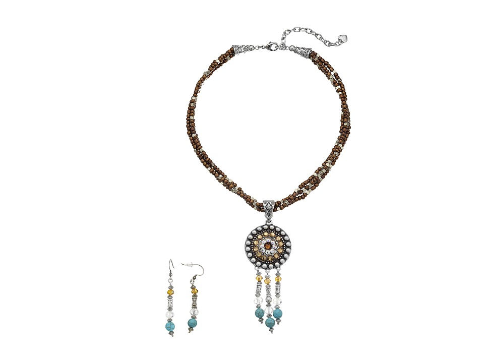 M&F Western - Beaded Fringe Concho Necklace/Earrings Set (Brown) Jewelry Sets
