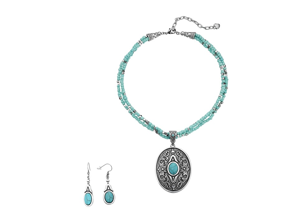 M&F Western - Western Oval Turquoise Concho Charm Necklace/Earrings Set (Silver/Turquoise) Jewelry Sets