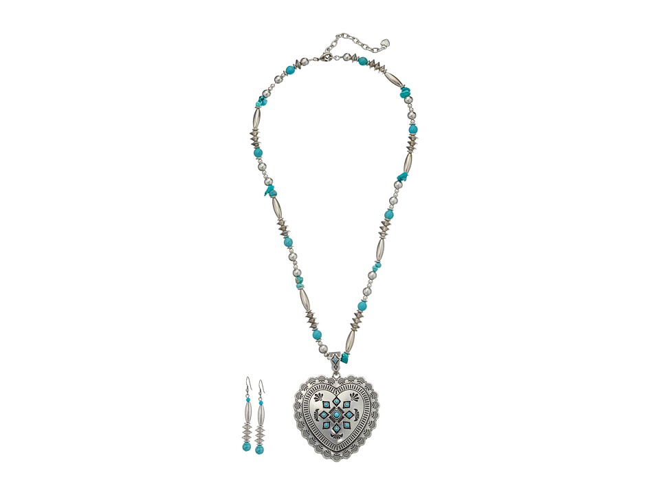 M&F Western - Heart Charm Necklace/Earrings Set (Silver/Turquoise) Jewelry Sets