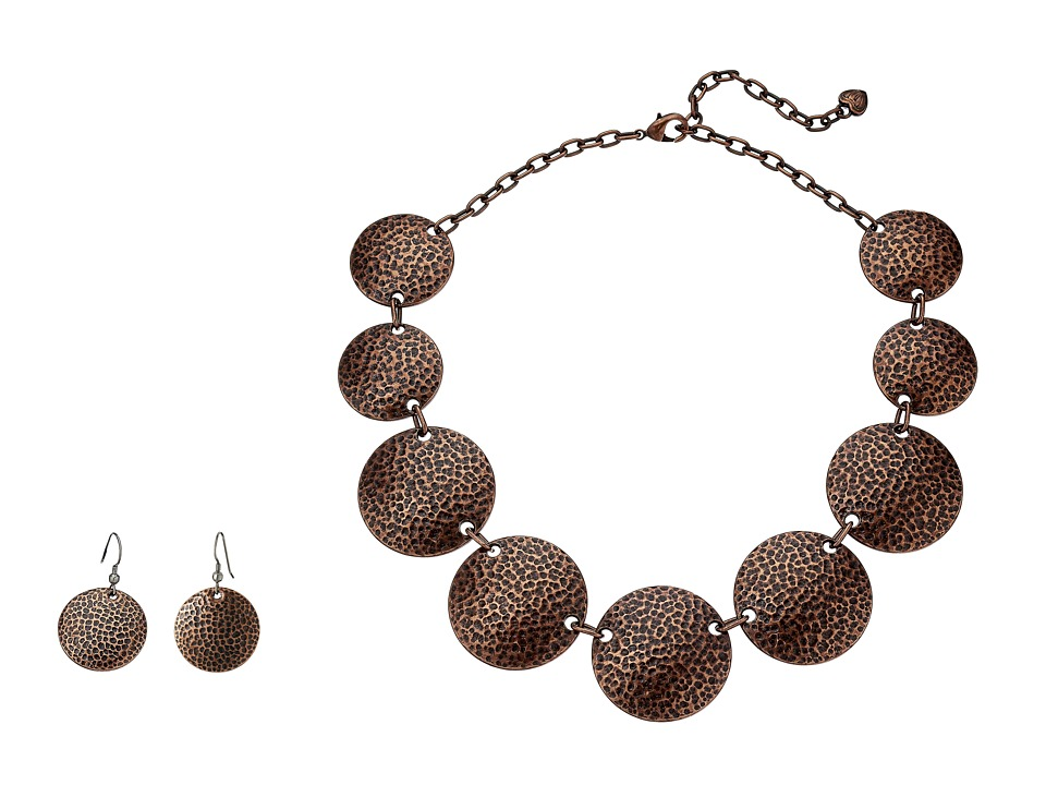 M&F Western - Hammered Coin Necklace/Earrings Set (Copper) Jewelry Sets