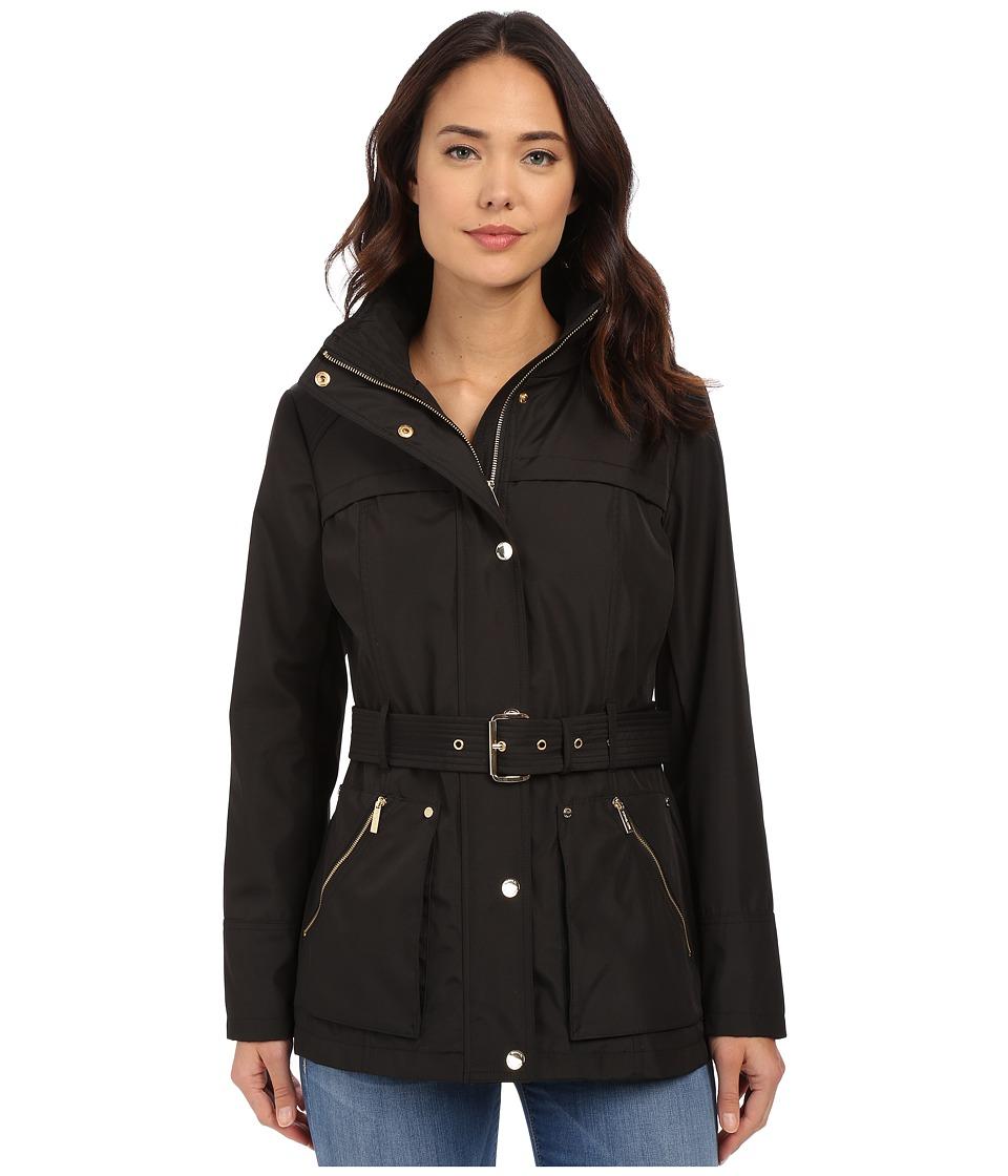 MICHAEL Michael Kors - Belted Snap Front Anorak M322001R (Black) Women's Coat