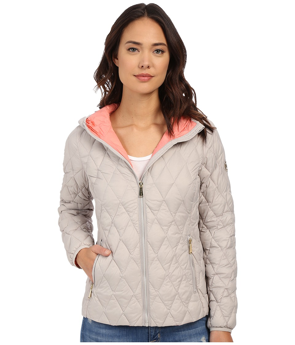MICHAEL Michael Kors - Zip Front Hooded Lightweight Down M822107R (Silver) Women's Coat