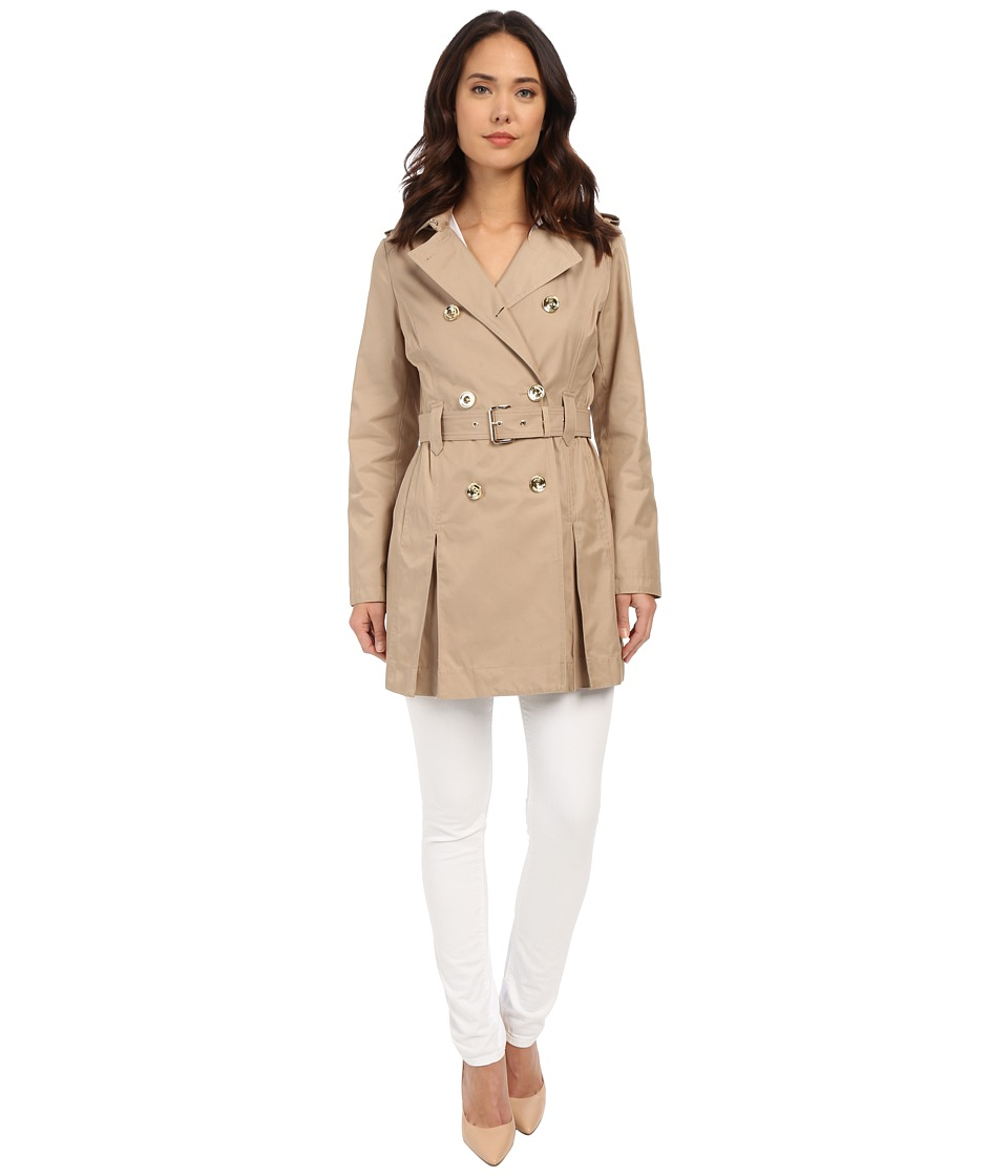 MICHAEL Michael Kors - Double Breasted Belted Trench M722032R (British Khaki) Women's Coat
