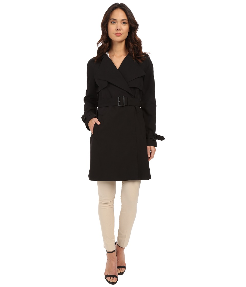 MICHAEL Michael Kors - Wrap Front Trench M722109R (Black) Women's Coat