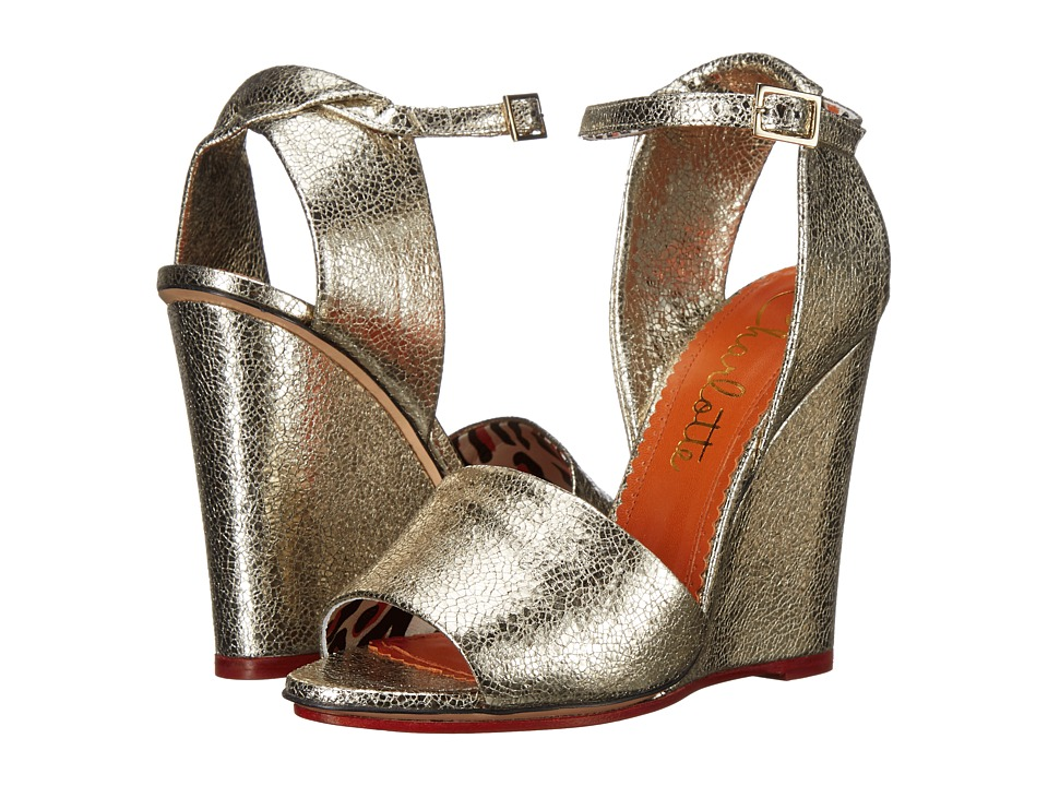 Charlotte Olympia - Mischievous Wedges 100 (Sentimental Silver Cracked Metallic Calfskin) Women's Wedge Shoes