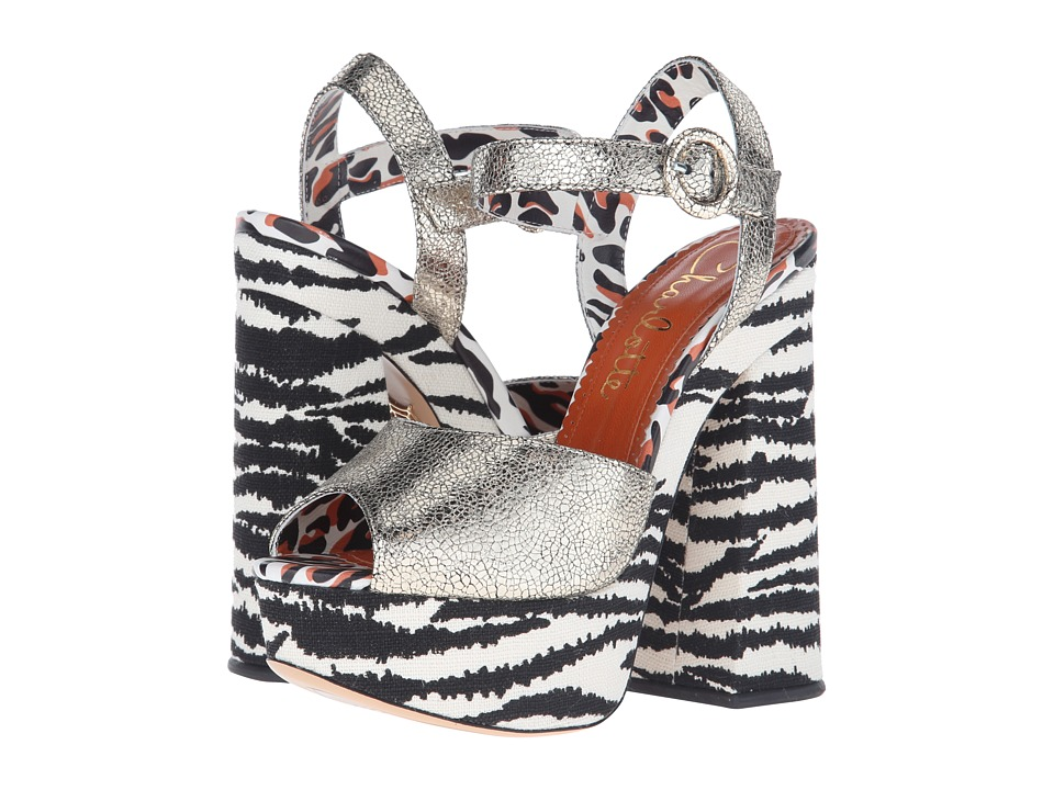 Charlotte Olympia Wild at Heart (Sentimental Silver/Zebra Cracked Metallic Calf/Linen) High Heels