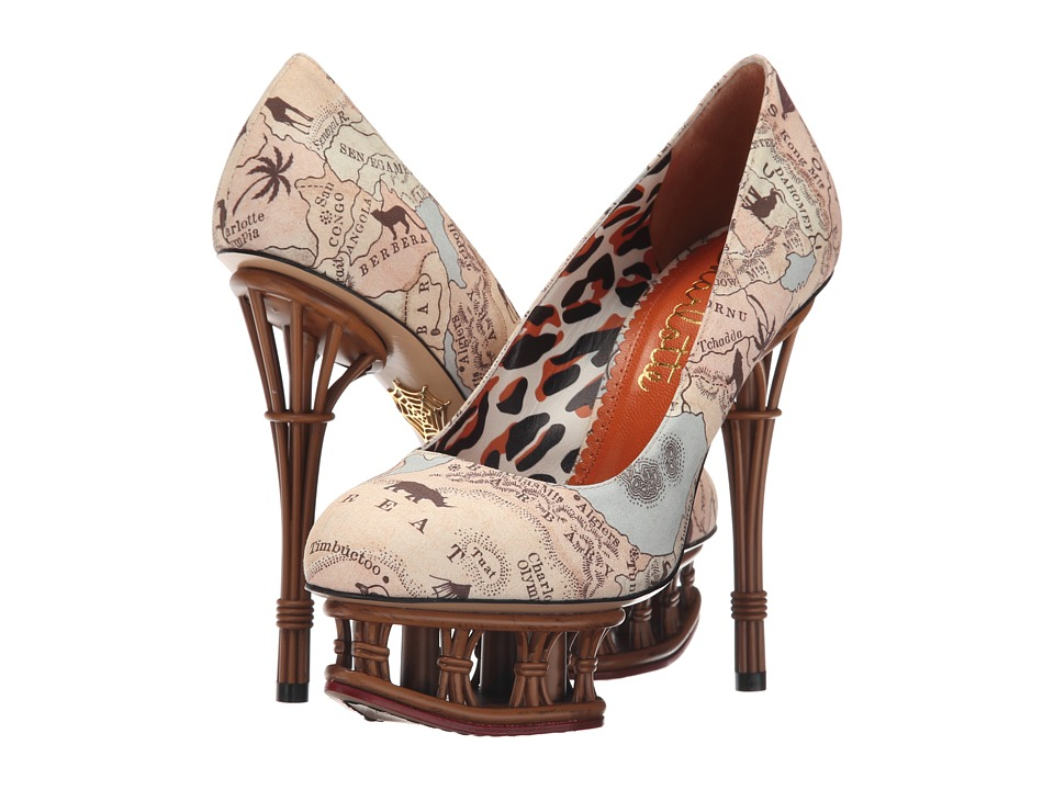 Charlotte Olympia Rattan Dolly (Map Print/Tan Cotton) High Heels