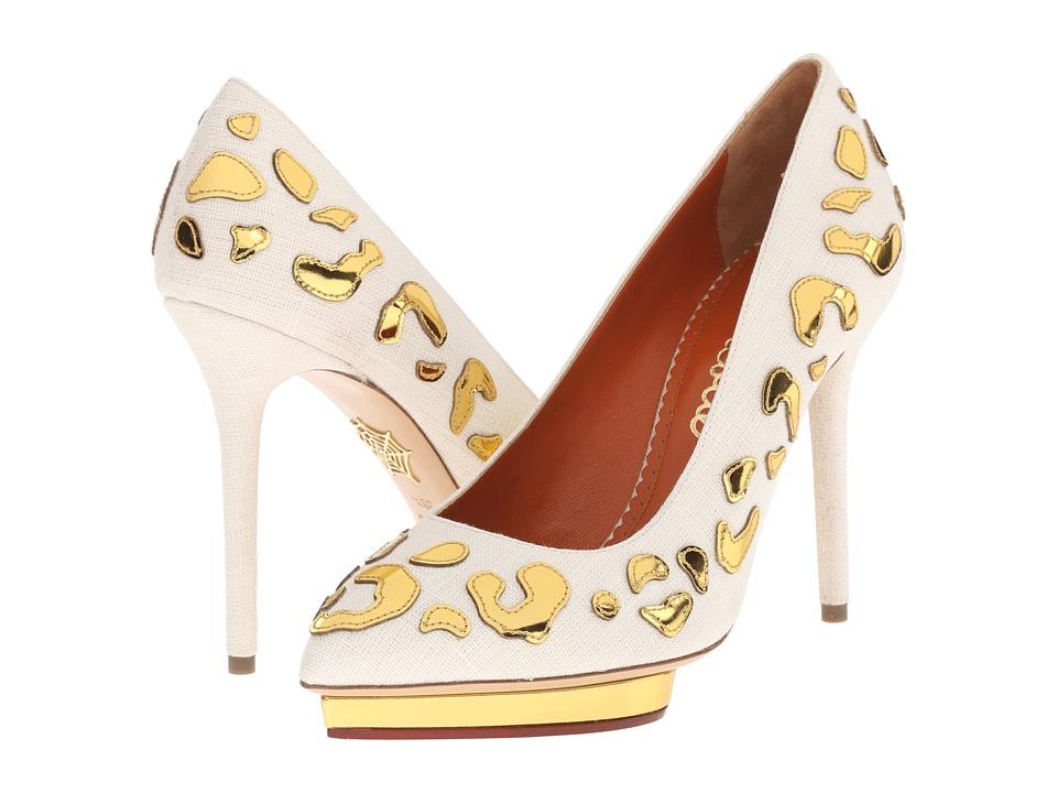 Charlotte Olympia - Debbie (Ivory/Gold Linen/Calfskin) High Heels