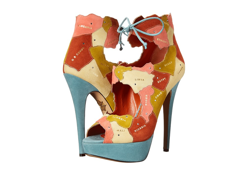 Charlotte Olympia - World at Her Feet (Multicolor Suede) High Heels
