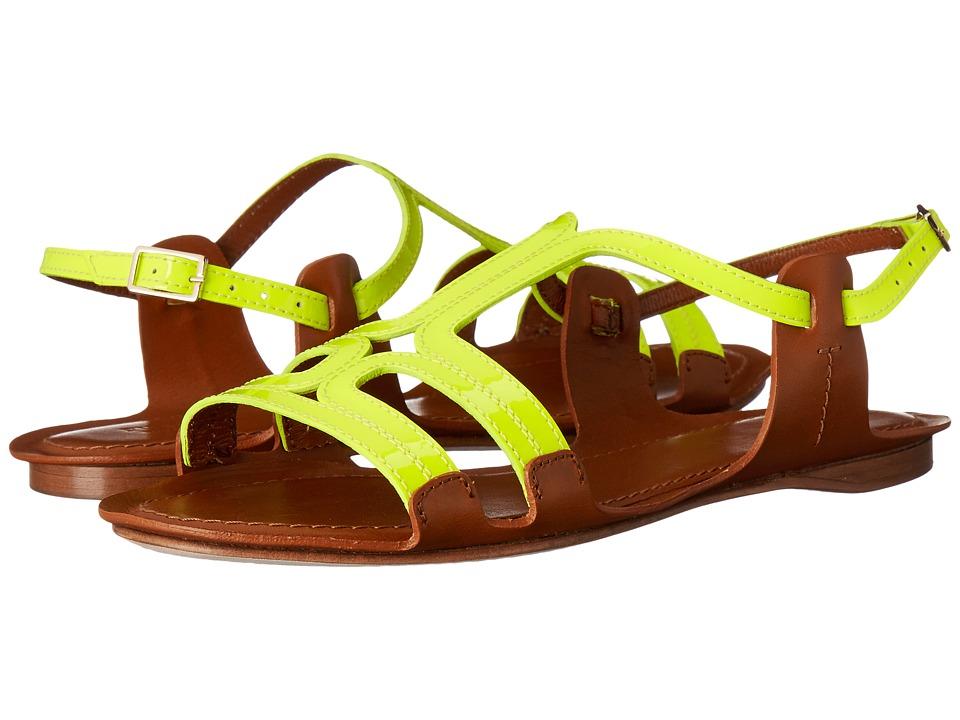 Furla Carmen Sandal 5mm Jade Fluo-Naturale Vernice Fluo-Vacchetta Womens Sandals