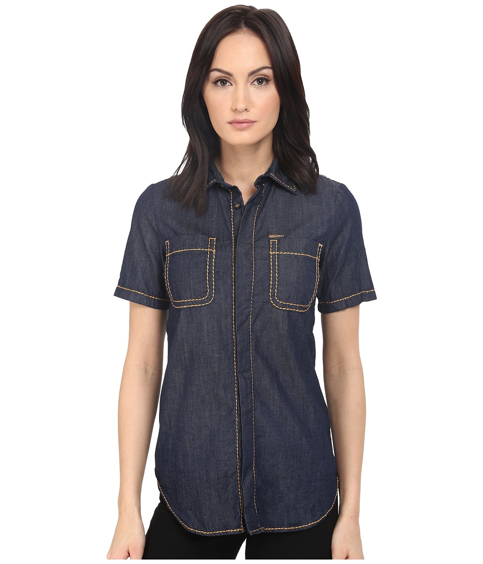 DSQUARED2 - Stretch Denim Hula Short Sleeves Shirt (Blue) Women's Short Sleeve Button Up