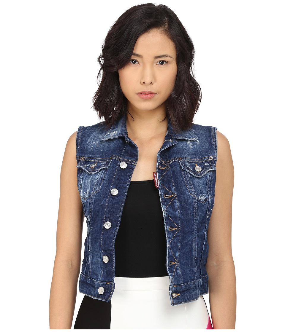 DSQUARED2 - Perfetto Wash Jean Vest (Blue) Women's Vest