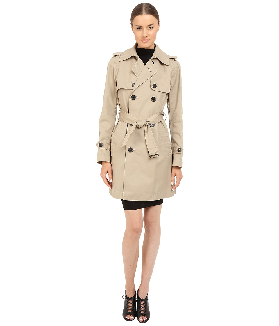 DSQUARED2 - Cotton Twill Trench Coat (Beige) Women's Coat