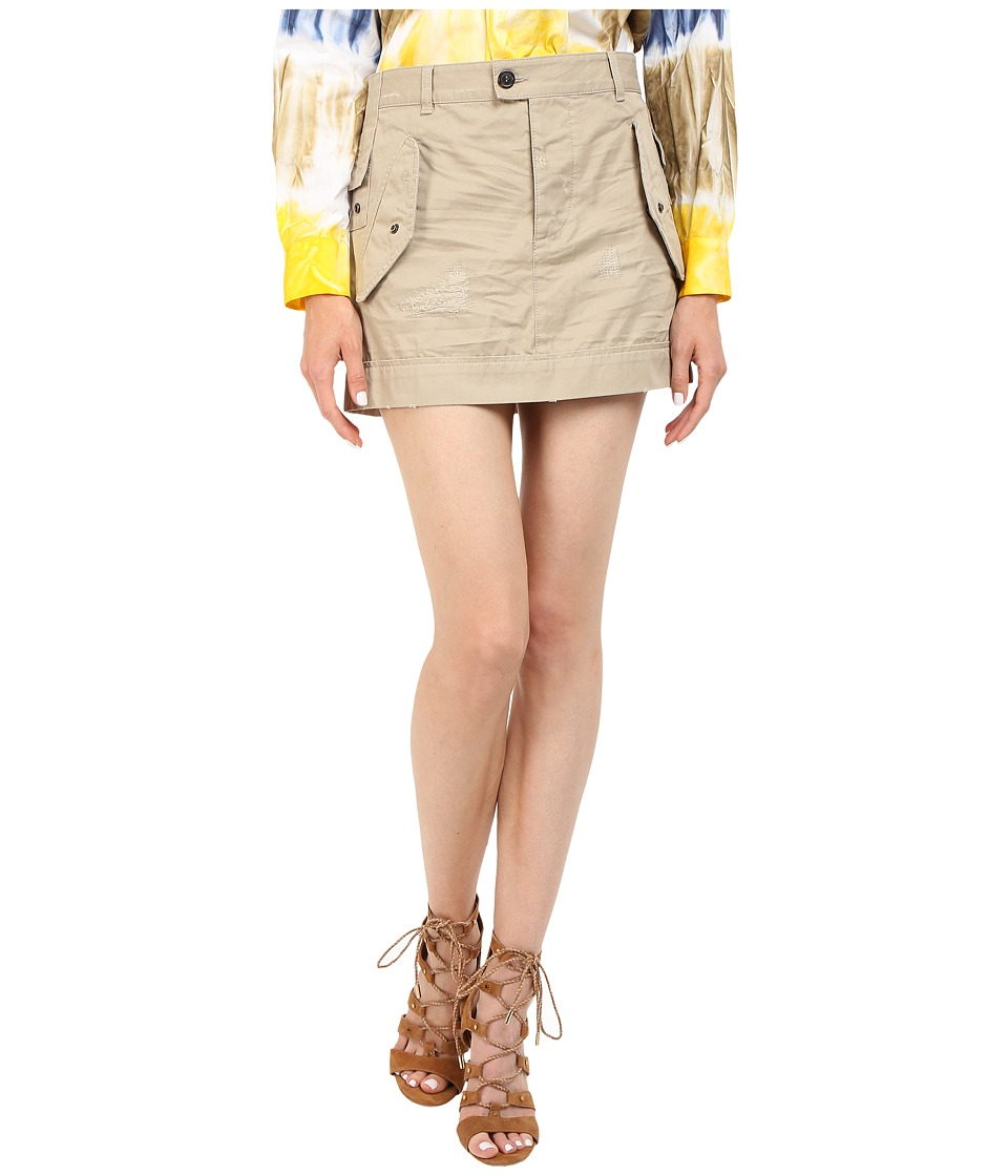 DSQUARED2 - Cotton Twill Hiapo Mini Skirt (Beige) Women's Skirt
