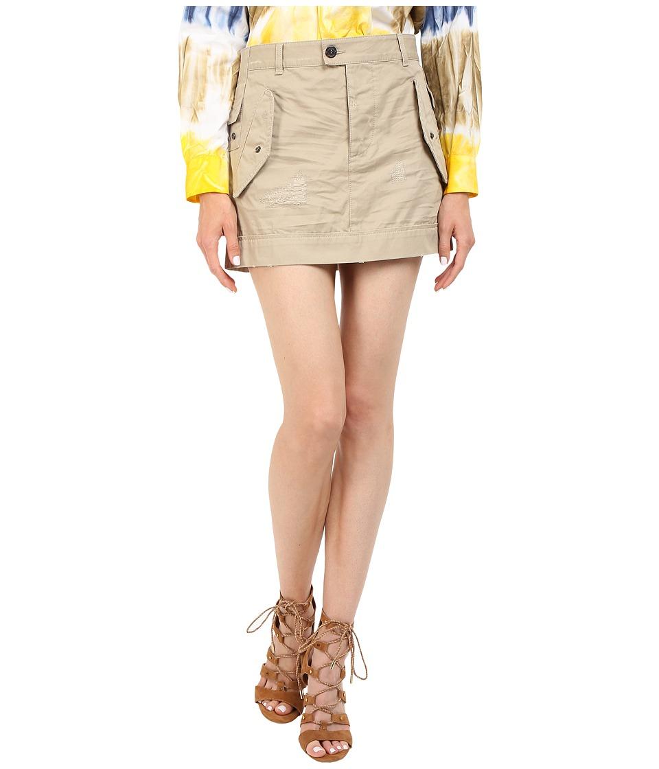 DSQUARED2 - Cotton Twill Hiapo Mini Skirt (Beige) Women's Skirt