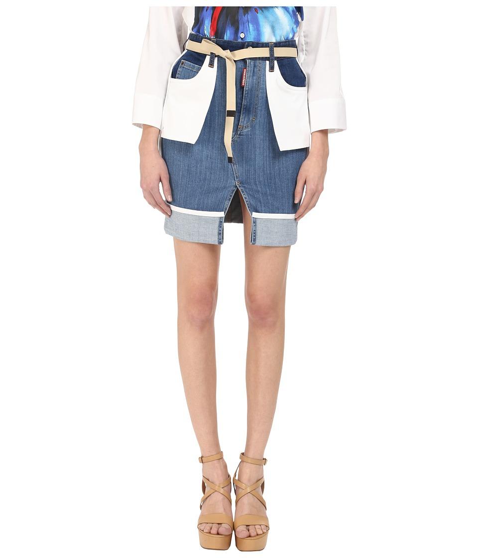 DSQUARED2 - Stretch Denim Inside Out Skirt (Blue) Women's Skirt