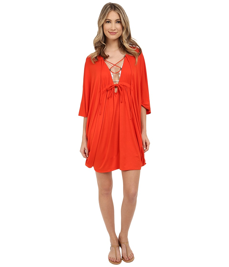 San Diego Hat Company - BST1642 Front Lace-Up Jersey Knit Beach Tunic (Grenadine) Women's Blouse