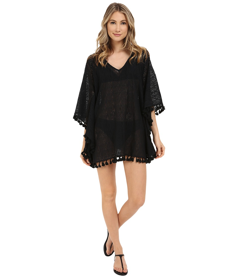 San Diego Hat Company - BST1634 Sheer Crochet V-Neck Deep V-Back Beach Tunic with Fringed Hem (Black) Women's Blouse