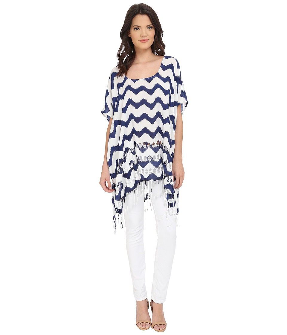 San Diego Hat Company - BST1628 Scoop Neck Tunic with Side Seam and Fringed Hem (Navy) Women's Blouse