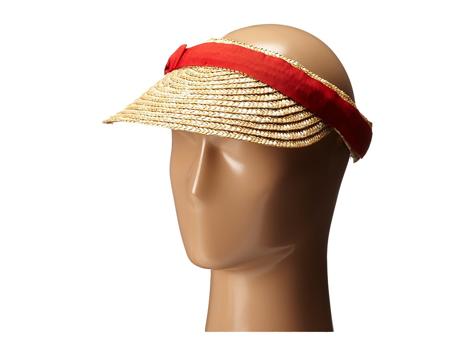San Diego Hat Company - WSV0005 4 Inch Brim Straw Clip On Visor with Bow (Red) Casual Visor